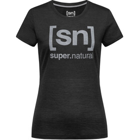 super.natural Essential I.D. T-shirt Femme, jet black melange/vapor grey logo